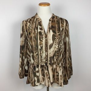 New York & Company Peplum Blouse Animal Print L
